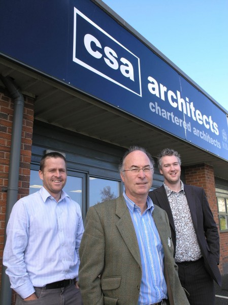 Nigel Atkins (centre) is welcomed to the board of CSA Architects by fellow directors Justin Dodge (right) and Jeremy Bradley.
