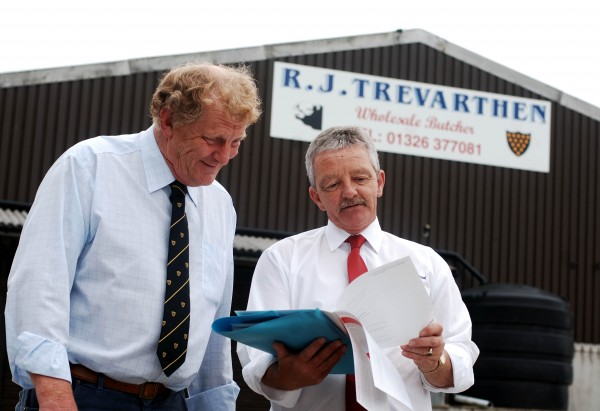 Robert Trevarthen, owner of expanding independent, wholesale Cornish butchers RJ Trevarthen with Cornish Mutual Inspector Jeff Kincaid