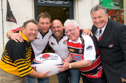 Come fly with me: Roger Hawke (Newell's TRAVEL managing director), Alan Paver, Chris Morgan (Cornish Pirates), Brian Wick (managing partner, Wickers World Travel) and  Jan Rendell (Cornish Pirates' team manager) launch the Newquay to Dublin flight on November 27 for the Pirates' British and Irish Cup match against European Champions, Leinster.