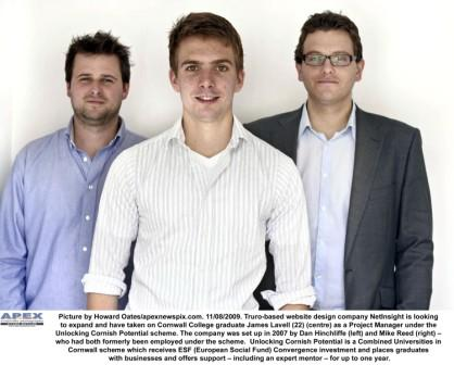 NetInsight's Dan Hinchcliffe (left) with new recruit James Lavell (centre) and Mike Read