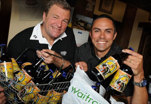 Waitrose Wonder:Skinners Brewery chief executive Steve Skinner (left) and sales manager Stuart Hughes celebrate Betty Stogs' new 144-store national listing with the superstore chain. Picture: Mary Neale