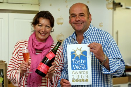 Kim and John Coulson celebrate their win at the Taste of the West Awards 2009.