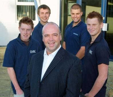 Darren Healey, MD of Darren Healey Building Contractors, is pictured with apprentices old and new (L-R) Michael Flaherty, Richard Trewern, Ben Page, Jacob Champion