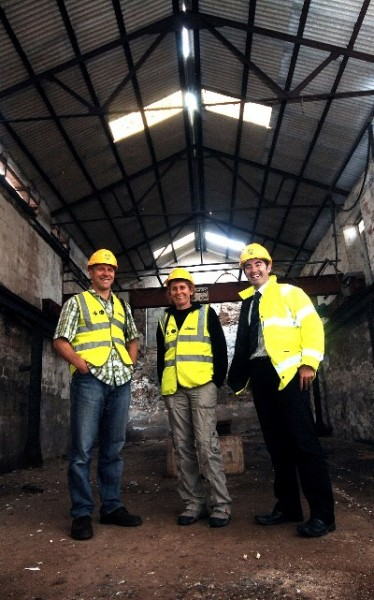 Pete Whitbread-Abrutat from the Post-Mining Alliance, Corrine Unger and Scott James, Heartlands Programme Director