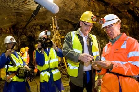 South Crofty's Chief Operations Officer John Webster is filmed showing Michael Portillo a rock sample
