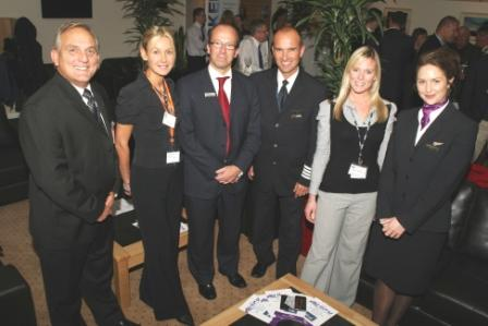(L-R) Andrew Skipp, Chair of Newquay Cornwall Airport, Debra Dupret, Mike Coombes and pilot Guy Walters of Air Southwest, Josie Slater from Newquay Cornwall Airport and Air Southwest cabin crew member Amy Dymond