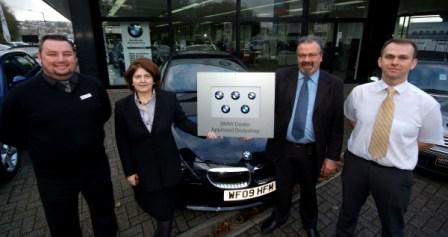 L-R: Andrew Yeo (Ocean BMW),  Janette Kessell and Martin May (Falmouth Coachworks), and Dave Macandie  (Ocean BMW)