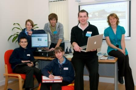(L-R) Penair School pupils Zachary Pinder, Lily-May Brimson and  Rachel Hillman with Matt Hollands (mpad), Mark Grice (Redfuse Internet) and Kate Whetter (Cornwall Learning Education Business Partnership)