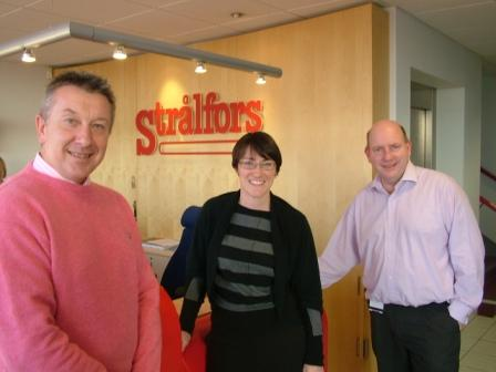 Julia Goldsworthy MP with Tony Plummer and Rob Norwell of Stralfors