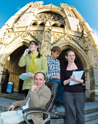 Treasure Trails staff outside Truro Cathedral – Steve Ridd, Teresa Ridd, Laura Bower and Aaron Hutchens