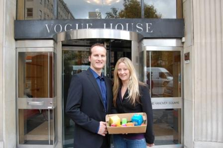Sales manager Andrew Warren with MD Angela Young outside Vougue's offices in London