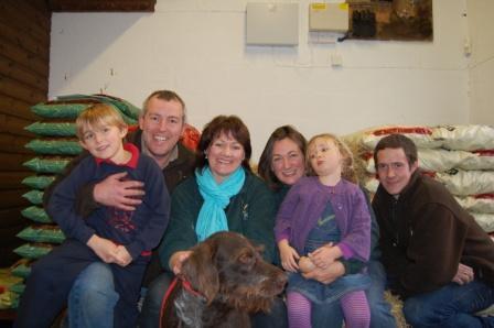 Family affair: (L-R) Jack Bailey, Simon Bailey, Angie Bailey, Emma Bailey, Ella Bailey, James Hill with Wilfred the dog