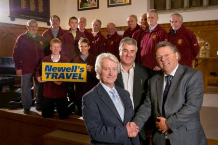 Roger Hawke, managing partner of Newell's TRAVEL (far right) with David Peters, festival chairman, and Paul Triggs, musical director of the City of Truro Male Voice Choir
