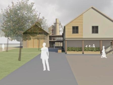 Artist impression of the rear of the community building, the Chy n Bobel