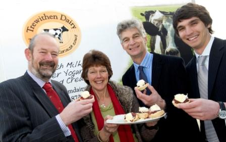 (L-R) Nick Buckland, SWRDA board member, and dairy owners Rachel, Bill and Francis Clarke