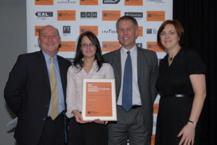 Ginsters' Samantha Brown, personnel and training officer and Steve Jones, head of personnel development (centre) receive their award from Sasha Bowman of sponsors Westfield Health and Terry Slater of EEF