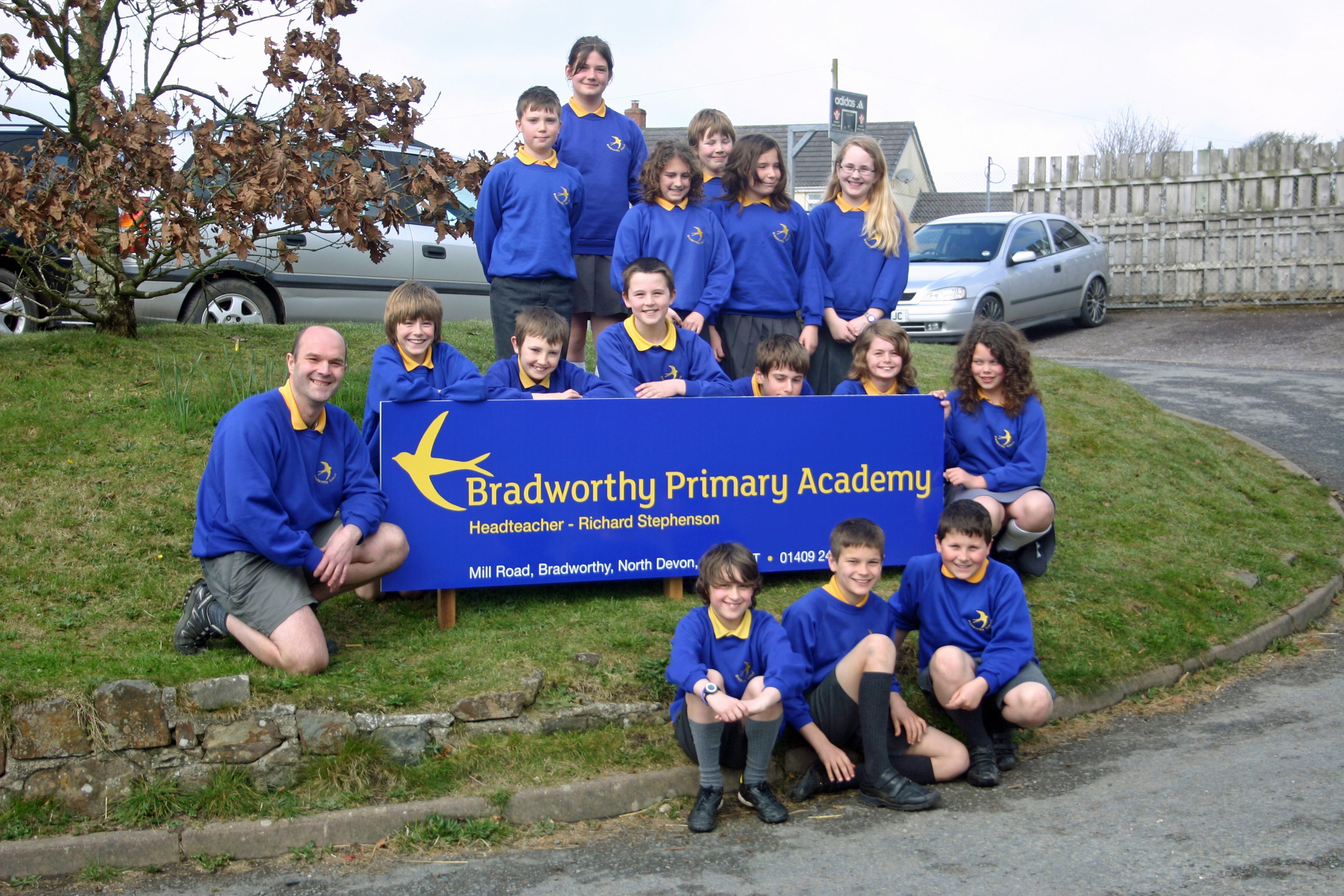 Students from Bradworth Academy with headteacher Richard Stephenson.