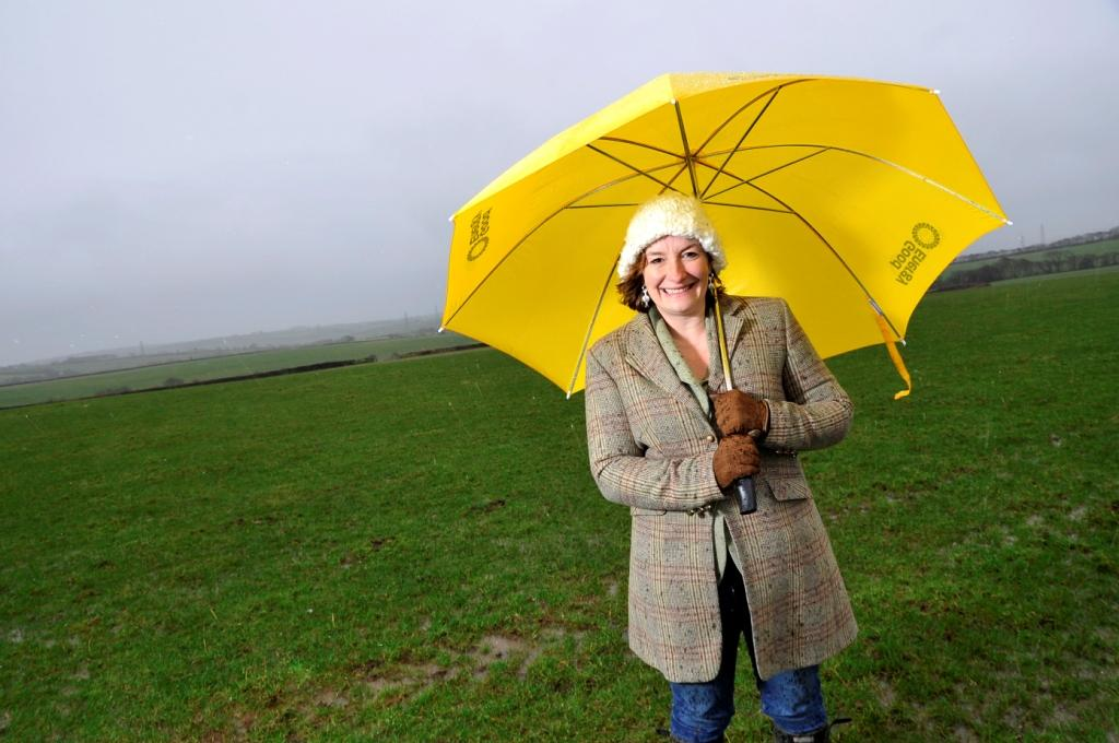 Good Energy CEO Juliet Davenport braving the elements at the proposed  renewable energy farm site