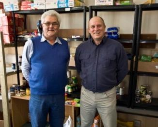 CPR Foodbank's Donovan Gardner (l) with IT West owner, Phil Allatt