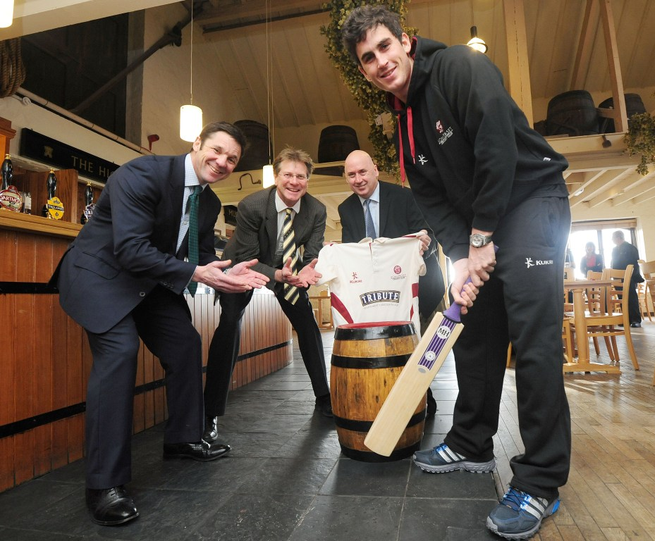 L–R: Guy Lavender (Chief exec Somerset County Cricket Club), James Staughton and Ian Blunt of St Austell Brewery, Craig Kieswetter (Somerset County Cricket Club)