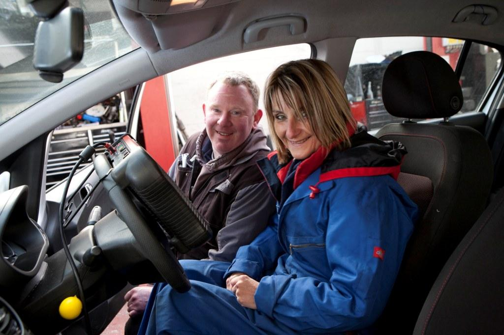 Head of CCB, Sally Foard, with garage owner Paul Evely