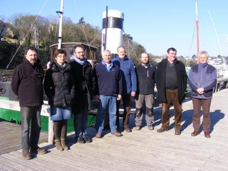 Mike Selwood and Andy Wyke (centre) from the National Maritime Museum Cornwall with the team from Le Port-Musée in Douarnenez