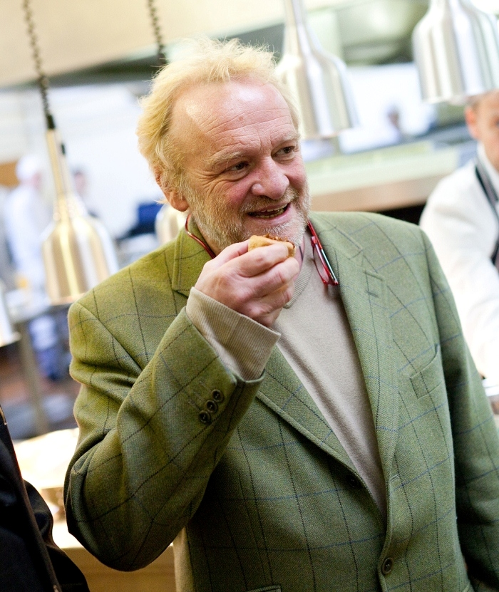 Antony Worrall Thompson samples a canape prepared by Cornwall College students