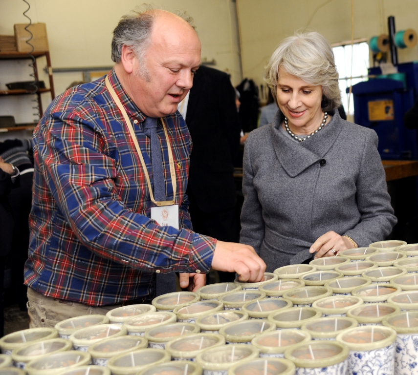 Managing Director Ian Greaves showing the Duchess of Gloucester how the candles are made