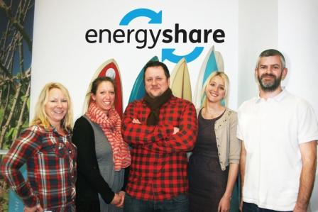The energyshare team (l-r): Clare Pennington (assistant project manager), Jess Ratty (communications manager), Simon Deverell (creative director), Abbie Brook (project manager) and Mike Fosker (digital producer)