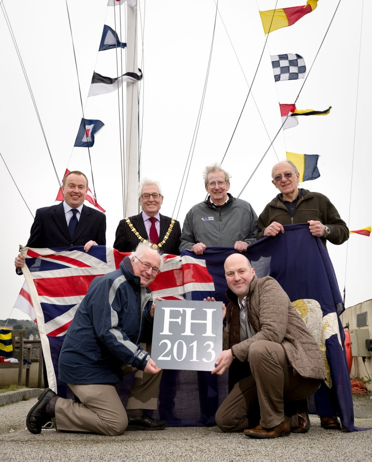 (L-R back): Falmouth Town manager Richard Gates, Town Mayor Geoffrey Evans, Henry Roberts and Walter Amos of the Falmouth Classics organising committee (L-R front) Roger Hollingsworth, Jamie Smith of Eight Wire
