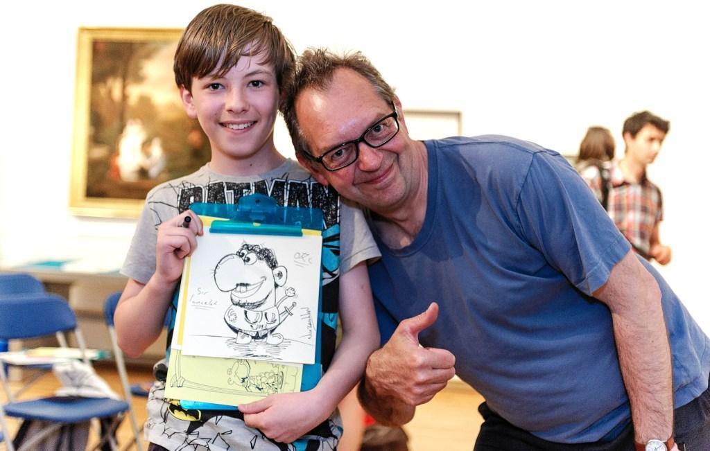 Beano artist Nick Brennan holds a Fal Festival cartoon workshop