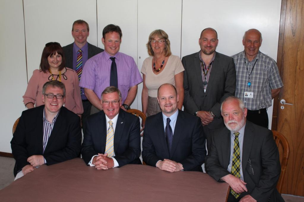 Photo shows (clockwise from back row left) Edwina Hannaford (Environment, Heritage and Planning), Julian German (Economy and Culture), Adam Paynter (Partnerships), Judith Haycock (Health and Adult Care), Andrew Wallis (Children and Young People's Services), Geoff Brown (Homes and Communities), Bert Biscoe (Transport and Waste), Jeremy Rowe (Deputy Leader; Devolution and Localism), John Pollard (Leader), Alex Folkes (Finance and Resources)