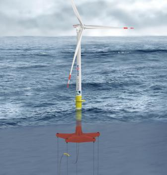 Artist's impression of the floating turbine device