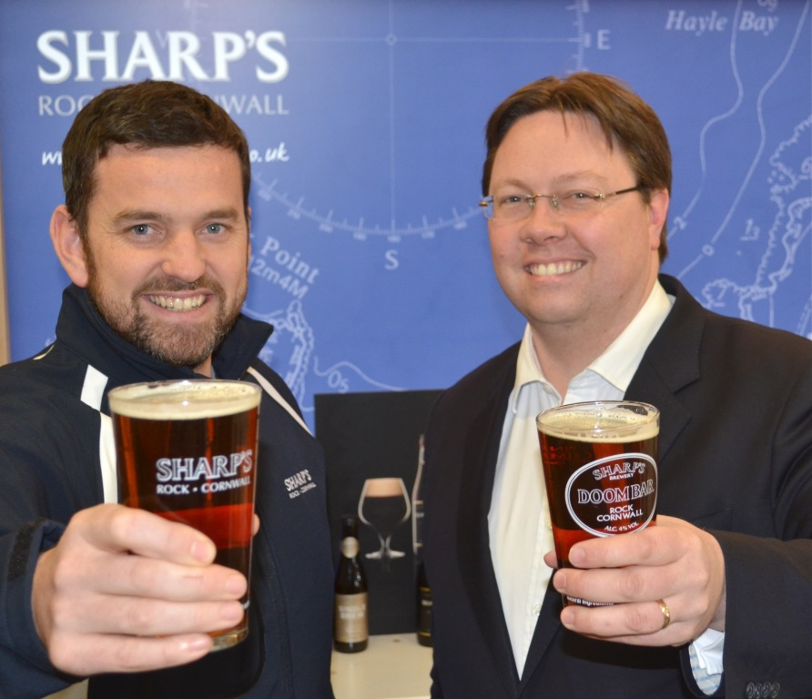 Dan Rogerson MP (r)  with Sharp's brand manager, James Nicholls