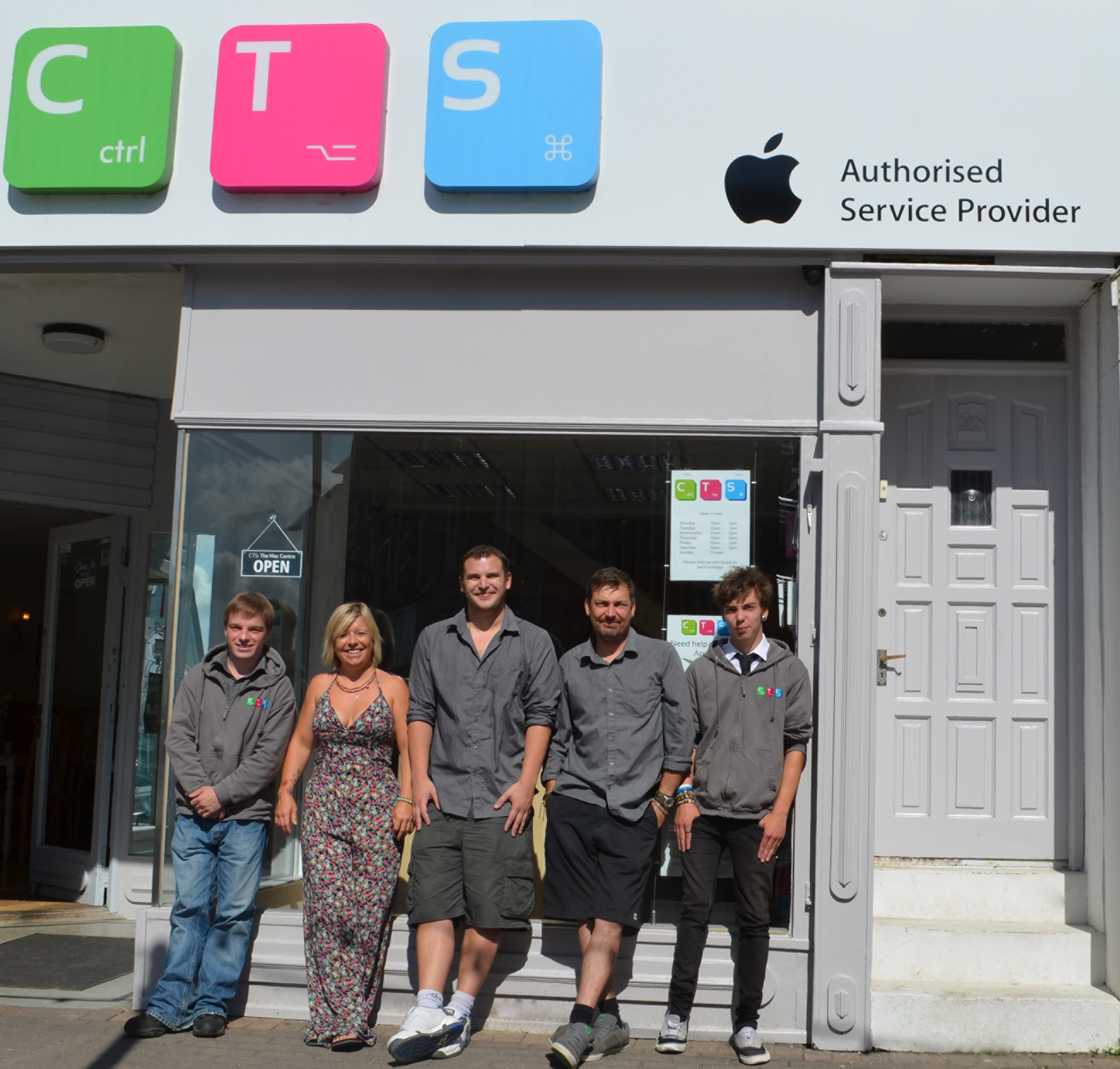 The CTS: Cornwall team celebrating the company's rebrand and opening of a second premises  (l-r) Wayne Green, Jay King, Marc Beaumont, Colin Booth and Logan Booth
