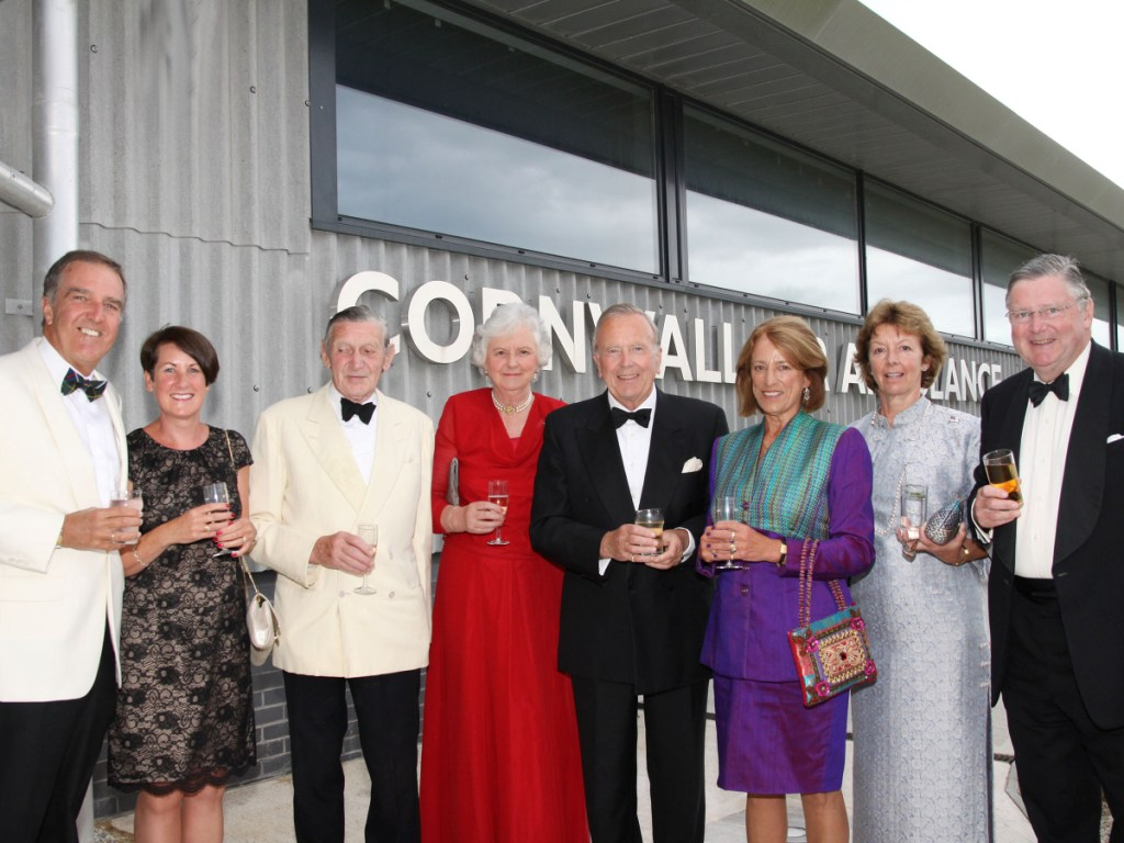 Trustees and guests of Cornwall Air Ambulance Trust (l-r): Ian Pawley, Bernadette Pawley, Geoffrey Holborow, Lady Mary Holborow, Sally-Jane Coode, Brian Coode, Sara Sherrard and Simon Sherrard