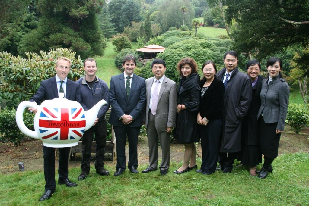 Chinese economic and commercial minister and councillor Zhou Xiaoming (centre) with members of the delegation from the Chinese Embassy and staff at the Tregothnan Estates