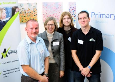 l-r: Nigel Buxton of Primary PC Solutions, MP Sarah Newton, apprentice Samson Clark and Mark Beckett of the Cornwall Apprneticeship Agency