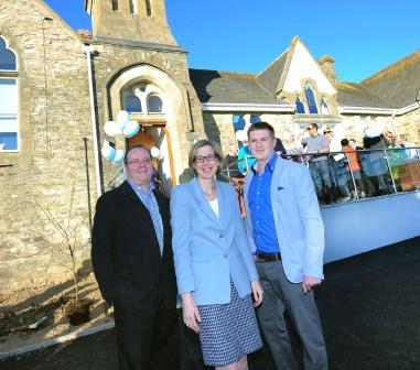 Falmouth and Truro MP, Sarah Newton with Reflex Marine CEO Philip Strong (l) and Director, James Strong ( r) at the Reflex Marine Offices in Shortlanesend.