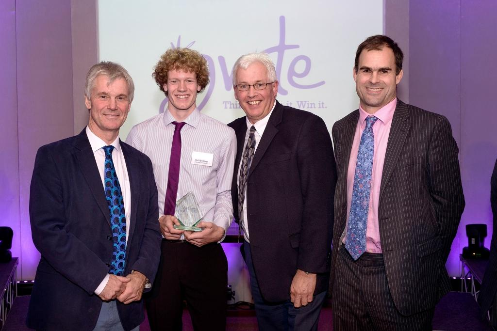 (L-R): Judge John Stewart, Ignite winner Giel Spierings, Oxford Innovation's Alan Street and Gavin Poole from sponsor Foot Anstey