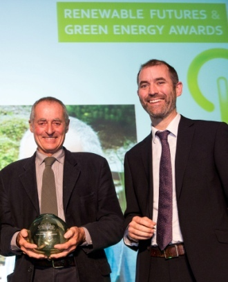Stephen Frankel picks up his Green Energy accolade from awards host Tom Clarke
