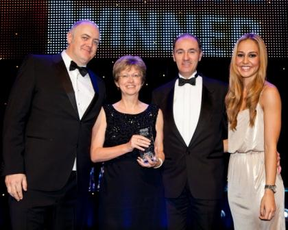 L-R: Dara O'Briain, host for the evening; Liz Allen, head of family law at Stephens Scown; Graham Murdoch, head of private client lawn; Rhiannon Van Ross, of Legal Week Events
