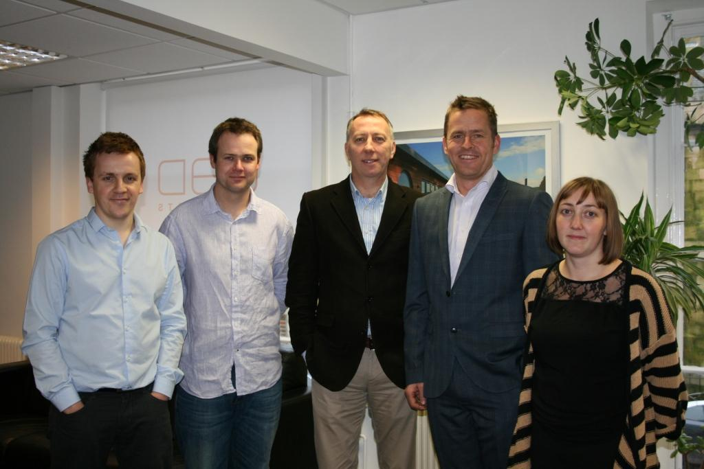 Newly appointed practice associates (l-r) Sam Mayou and Steve Whomersley, MD Mark Dawes, new architect Jeremy Bradley and architectural assistant Sally Jones