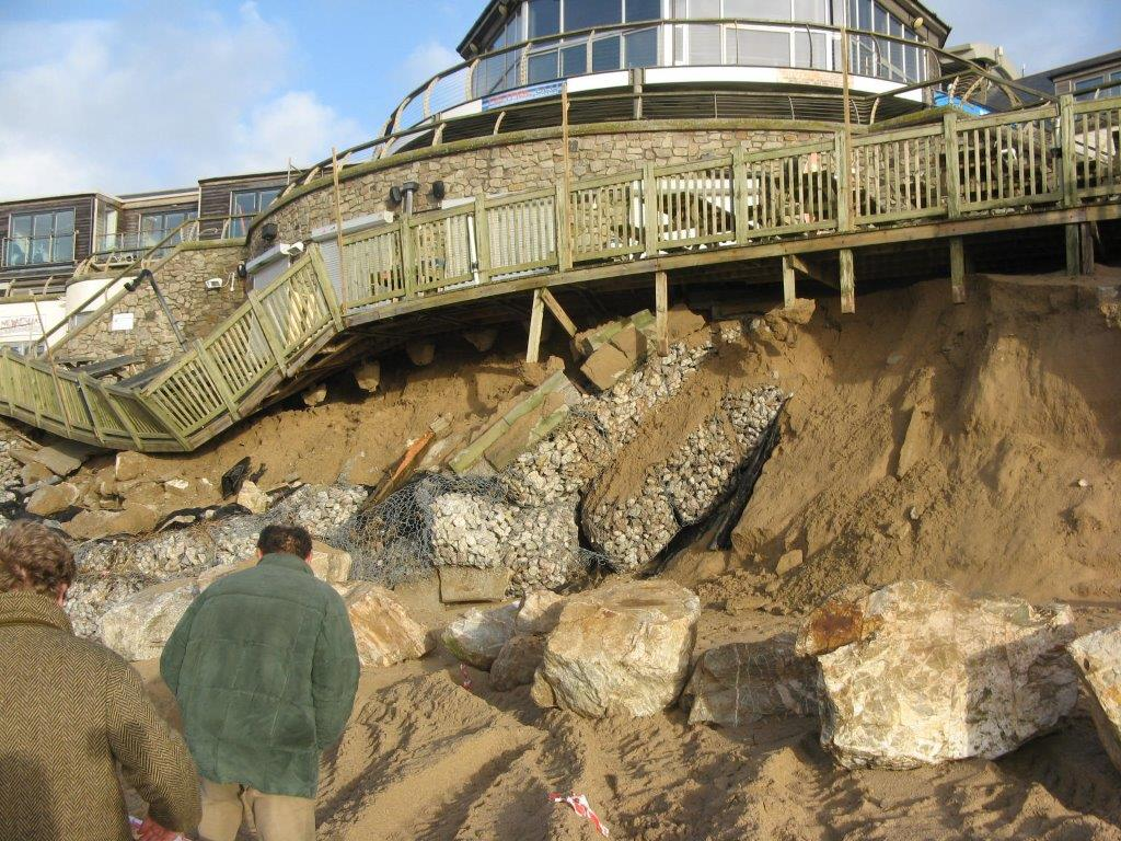 Damage to the walkways and decking of the Fistral Beach complex