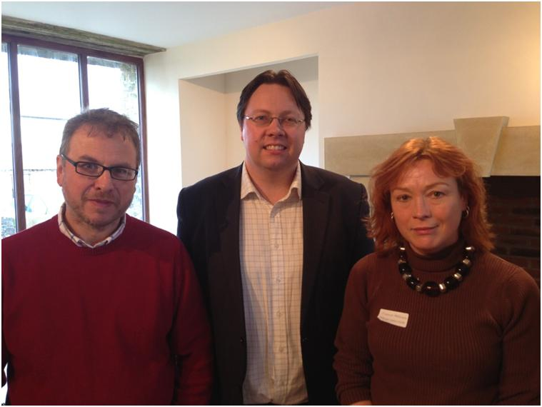 Dan Rogerson MP (centre) with hosts Fionagh & Richard Harding of Cornish Charcuterie