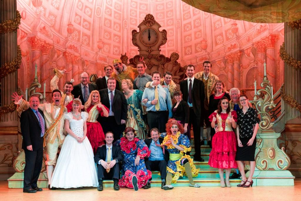 Panto cast with various corporate friends