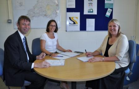 CF Systems' technical director, Darren Dixon, with Skoodyha project manager, Sarah Leigh and chief executive, Sally Piper (r)