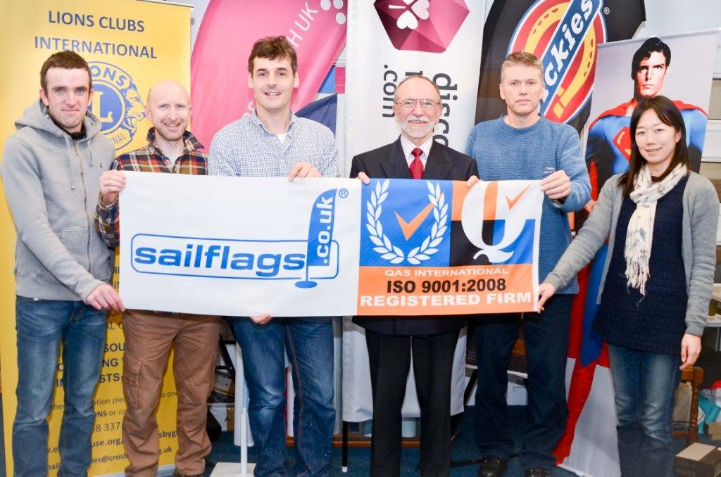 The Sailflags team with Roger Preston (centre)