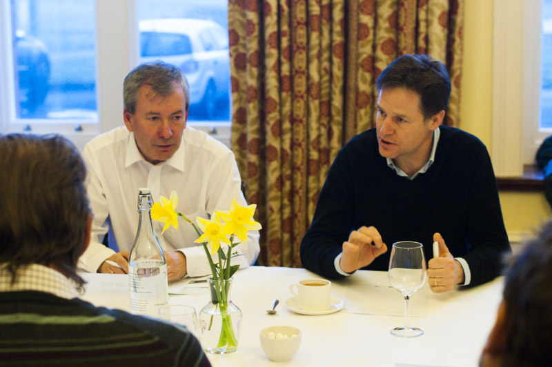 Malcolm Bell (l), head of Visit Cornwall, leads the meeting with the Deputy Prime Minster, Nick Clegg