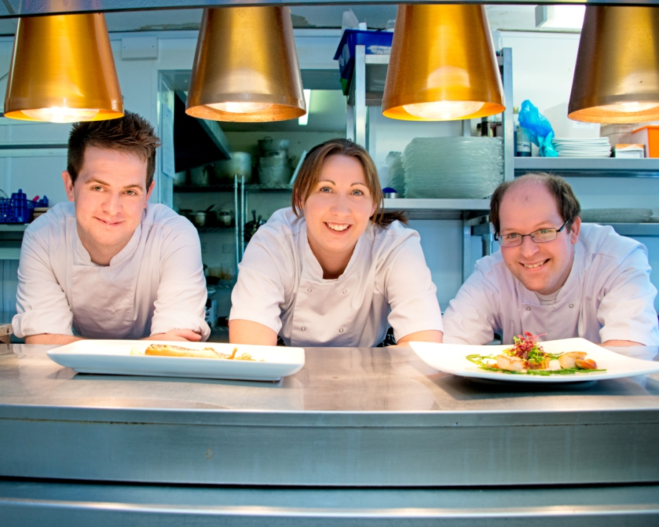 From left, Boscundle's commis chef Chris Lean; head chef Jenny Reed, and sous chef Adam Gerrish